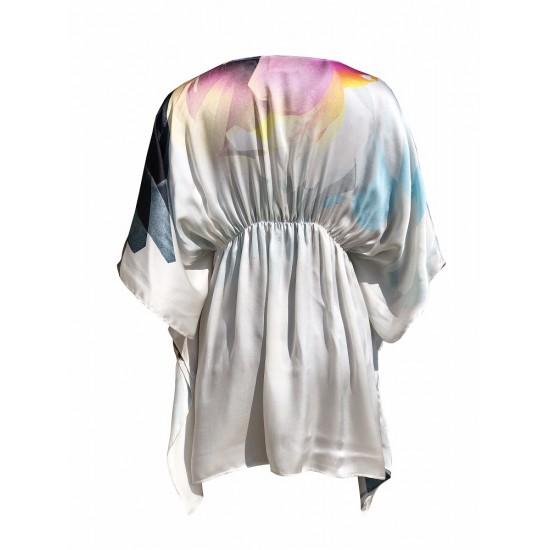 Wrap style short kaftan if fine silk satin