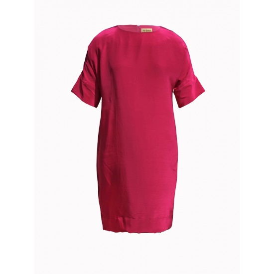 Silk shift dress with sleeve cuff detailing