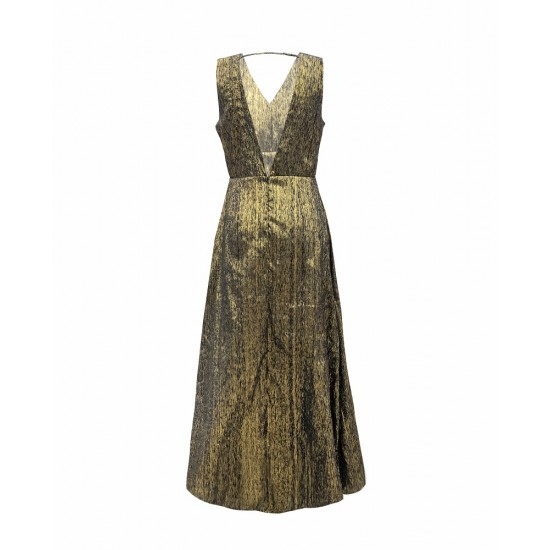 Gold maxi with deep v neck back