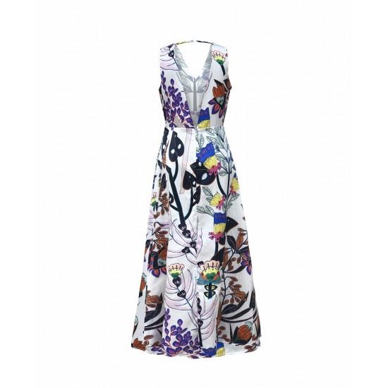 Printed maxi dress with deep v neck back