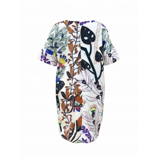 Printed shift dress with sleeve cuff detailing