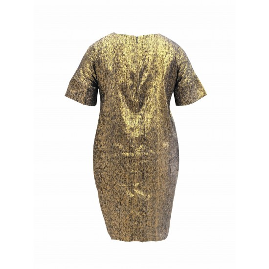 Gold shift dress with sleeve cuff detailing