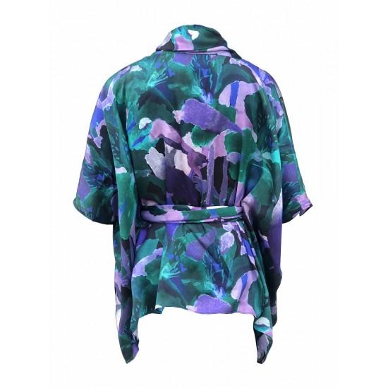 Printed silk satin draped wrap style top