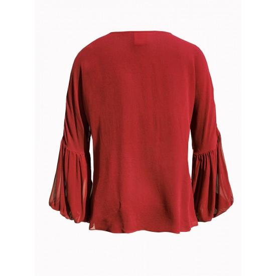 silk v neck gathered yoke line with sleeve detailing