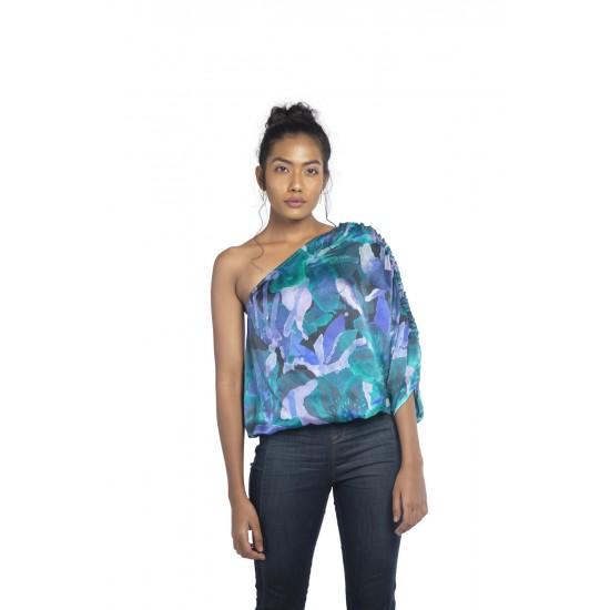 Gathered one shoulder blouse