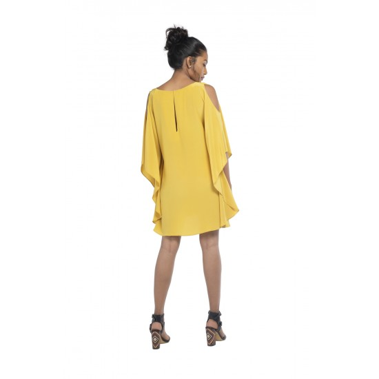 Mini Cape dress with cold shoulder detailing