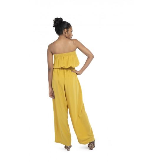 Strapless wideleg jumpsuit