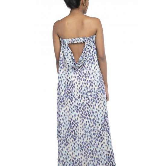 Strapless long maxi dress with back cowl detailing