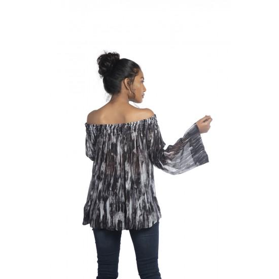 Sheared off shoulder blouse