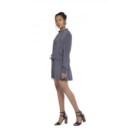 Silk Shirt dress with waist and button front detailing