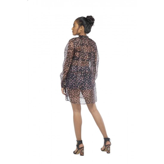 Sheer shirt dress with waist and button front detailing